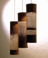 Three Suede lamps L 80cm x D 20cm
